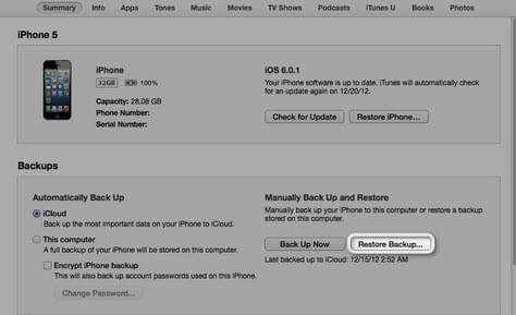 restaurar um SMS deletado do iPhone usando o iTunes