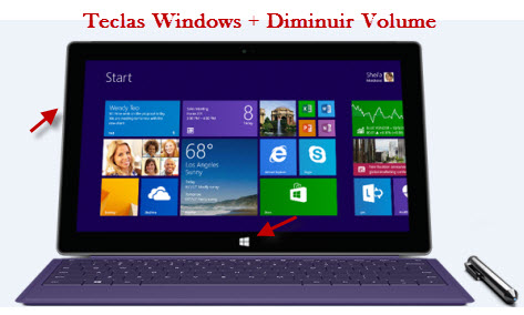 Aperte as teclas Windows + Diminuir Volume