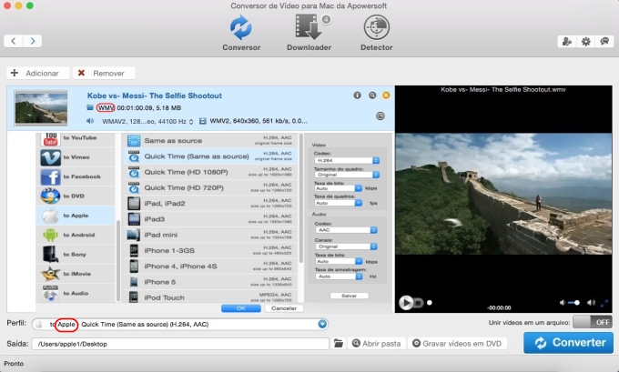 Conversor de WMV para MOV no Mac