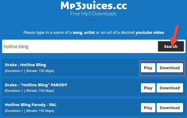 Interface do mp3juices